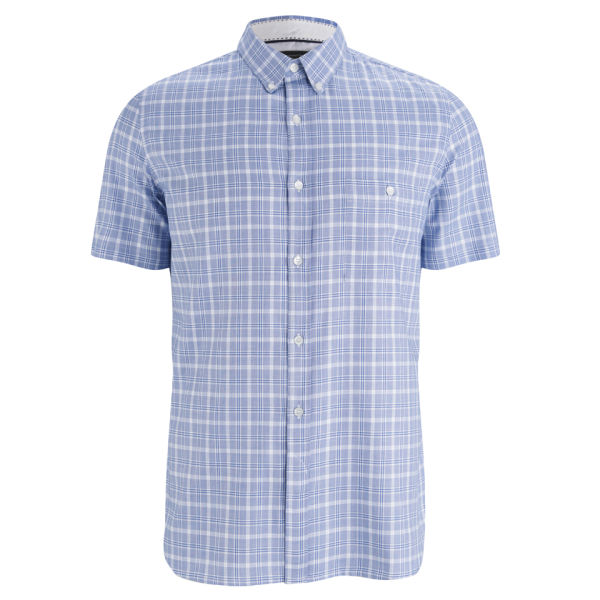 French connection men 39 s soldier peached short sleeve shirt for French blue oxford shirt