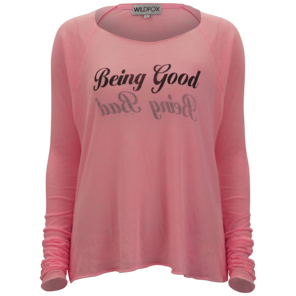 Wildfox Women's Being Good and Bad Reversible T-Shirt - Neon Sign