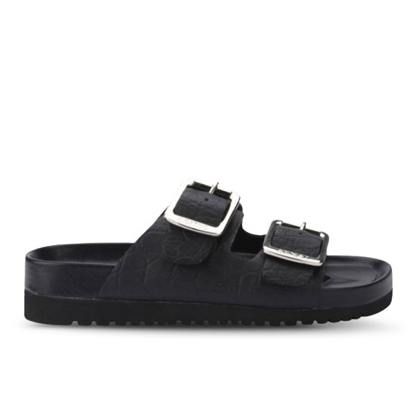 Senso Women's Ida I Croc Leather Slide Sandals - Black