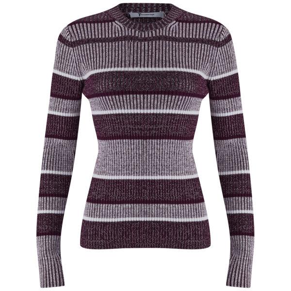 T by Alexander Wang Women's Rib Mock Neck Knitted Jumper - Bordeaux