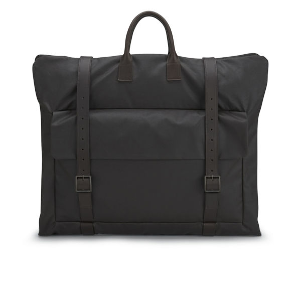 Knutsford Men's Leather Foldover Weekend Bag - Dark Brown