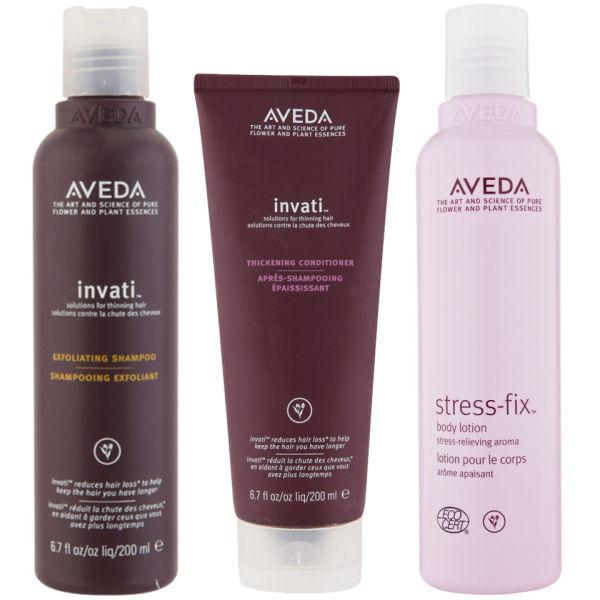 Aveda Invati Shampoo and Conditioner 200 ml with Stress Fix Body Lotion