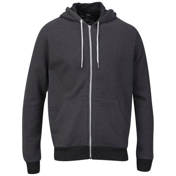 Brave Soul Men's Tommy Zip Through Hooded Sweatshirt - Charcoal Marl
