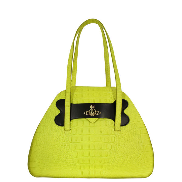 Vivienne Westwood - Accessories Women's 6151 Dino Large Leather Bag - Neon Lime