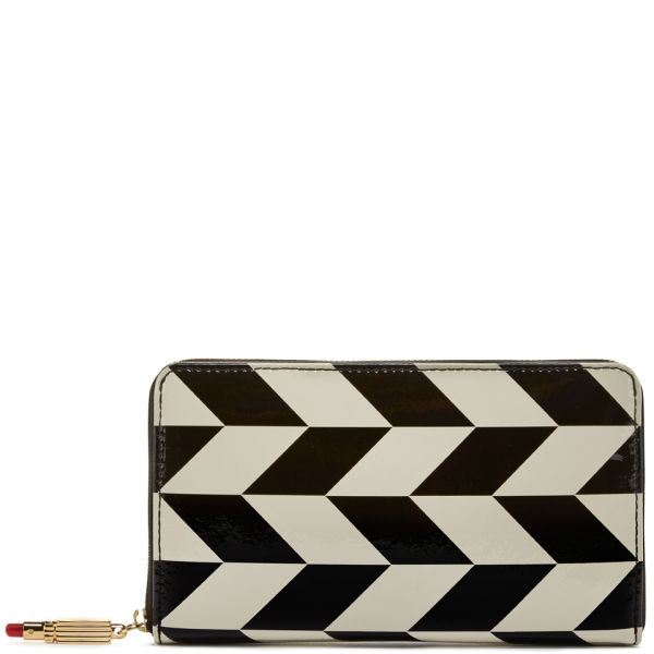 Lulu Guinness Chevron Printed Patent Leather Continental Wallet - Black/Stone