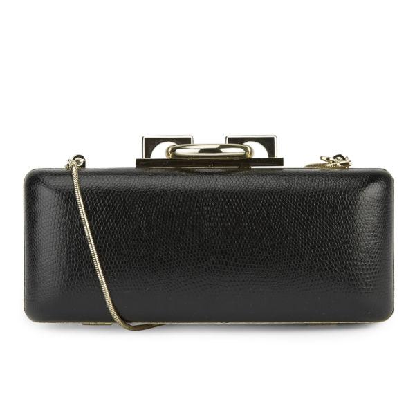 Diane von Furstenberg Women's Sutra Embossed Lizard Leather Clutch Bag - Black