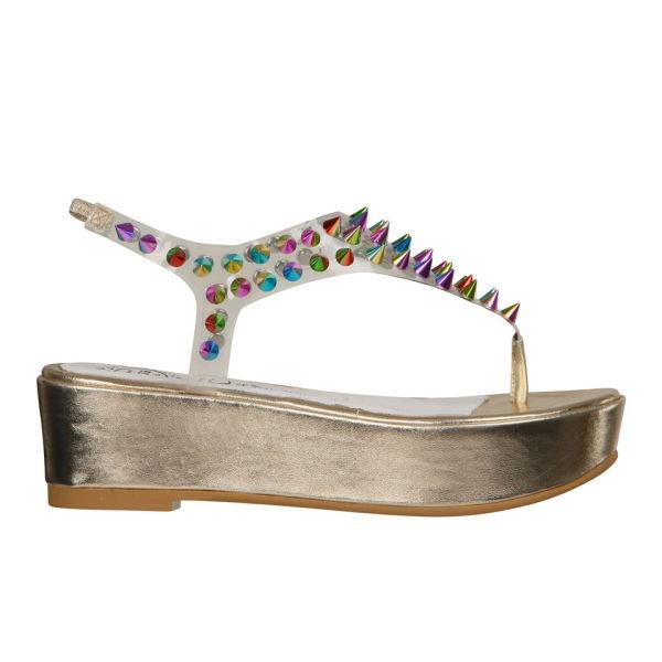 Jeffrey Campbell Women's Neptune Spiked Flatform Sandals - Gold