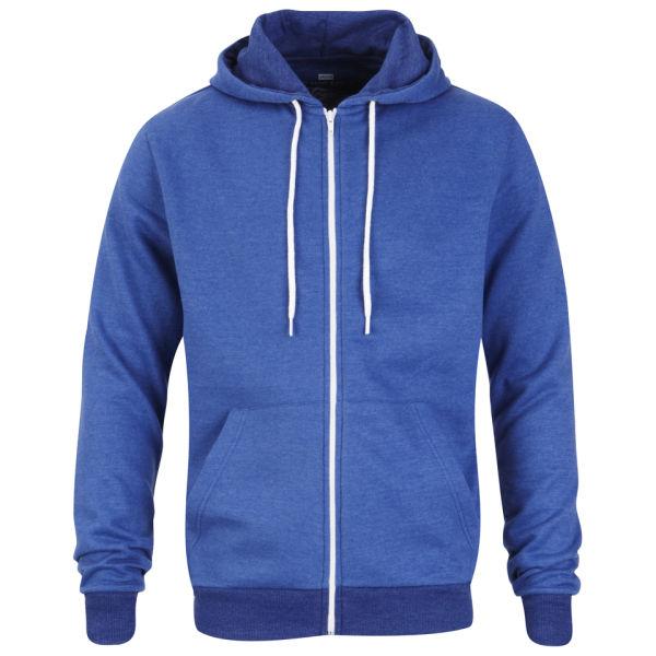 Brave Soul Men's Tommy Zip Through Hooded Sweatshirt - Blue Marl
