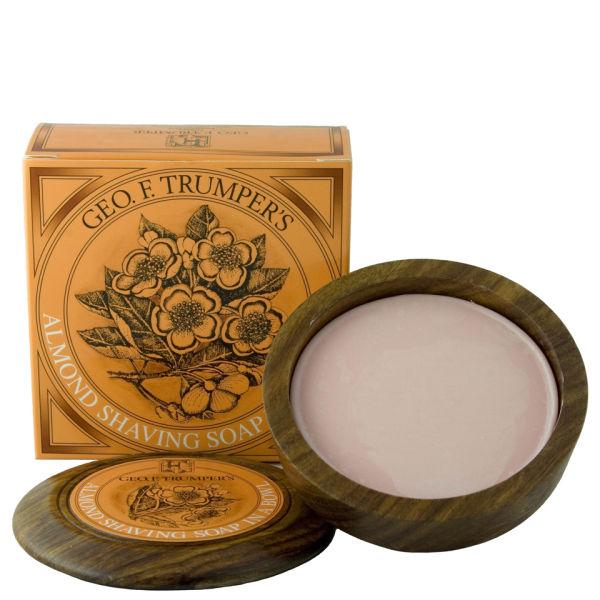 Trumpers Almond Oil Hard Shaving Soap Wooden Bowl - 80g