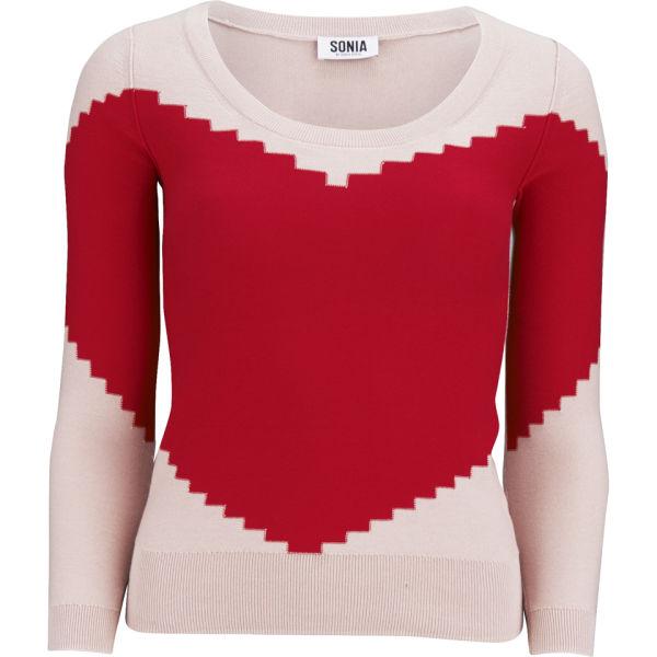 Sonia by Sonia Rykiel Women's Heart Knit Jumper - Red/Beige