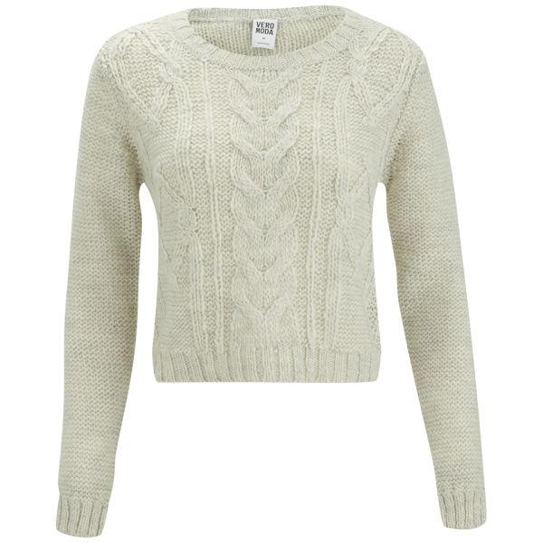 Vero Moda Knitting Patterns : Vero moda banita cable knitted jumper oatmeal womens