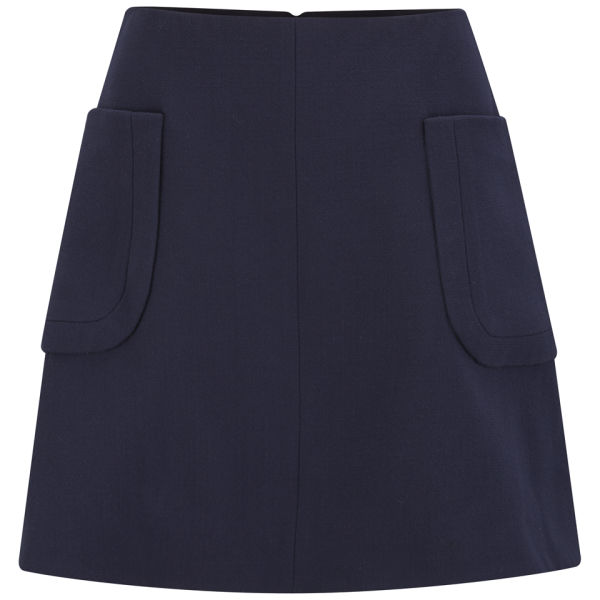 Carven Women's Wool Crepe Pocket Flare Skirt -  Navy