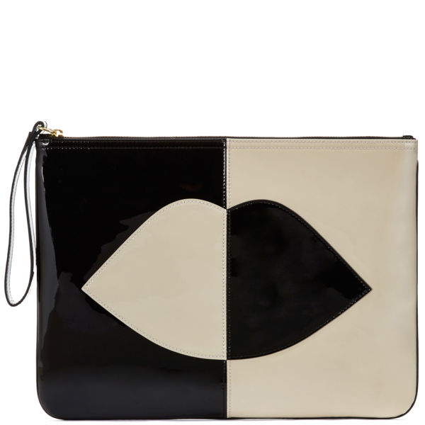 Lulu Guinness Women's 50:50 Lip Hug 'n' Hold Patent Leather Clutch - Black/Stone
