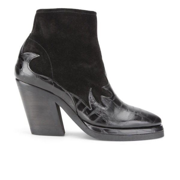purified s patsy 4 heeled croc suede boots black