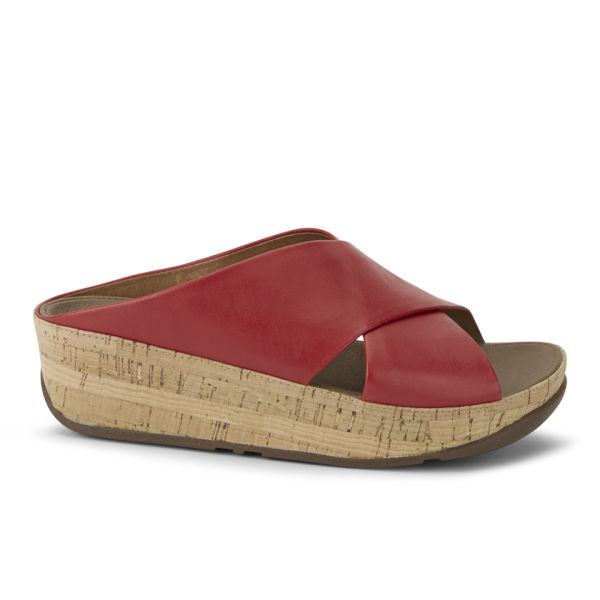 FitFlop Women's Kys Leather Slide Sandals - Red