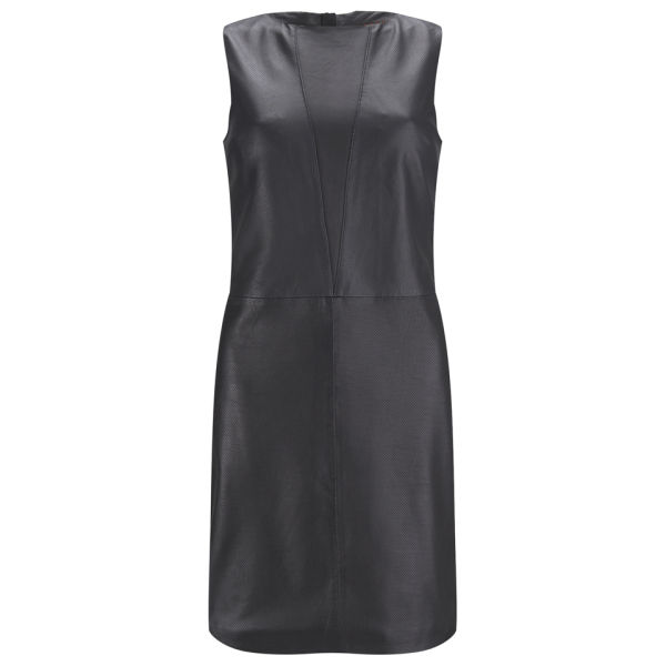 HUGO Women's Lisha Leather Sheath Dress - Black