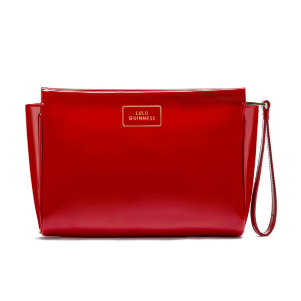 Lulu Guinness Women's Medium Katie Patent Leather Clutch - Red