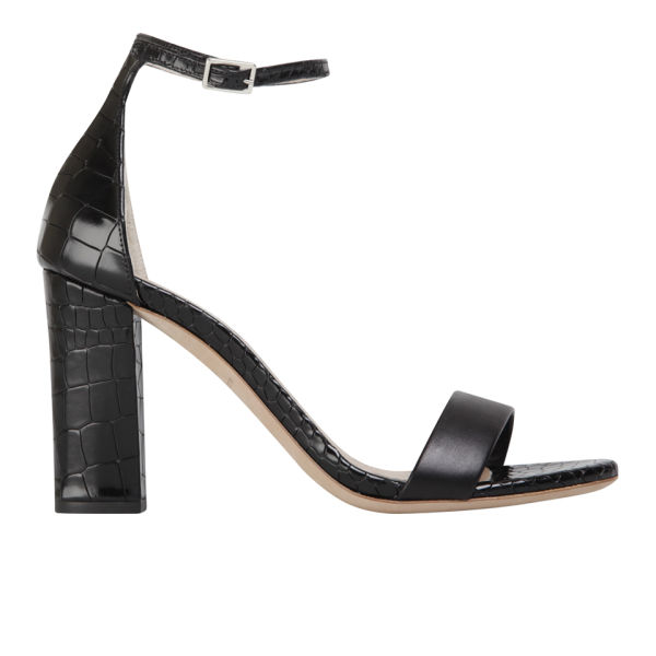 Kurt Geiger Women's Isabella Leather/Croc Print Heeled Sandals - Black
