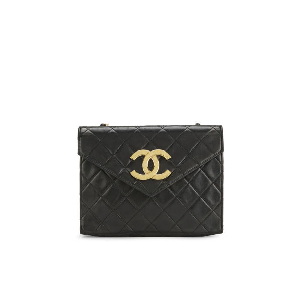 Chanel Women's Quilted Lambskin Leather Shoulder Pochette Bag - Large CC Logo - Black