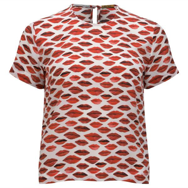 Peter Jensen Women's Woven T-Shirt - Lips