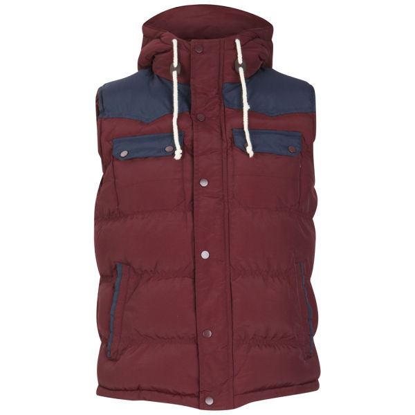 Constructed from a lightweight polyester cloth with shower-proof properties, this burgundy lightweight quilted gilet features down filling for increased insulation. Featuring a tonal central and side zip fastening with gold plated signature engraved zip pulls, this piece comes complete with elastic arm holes for additional comfort.