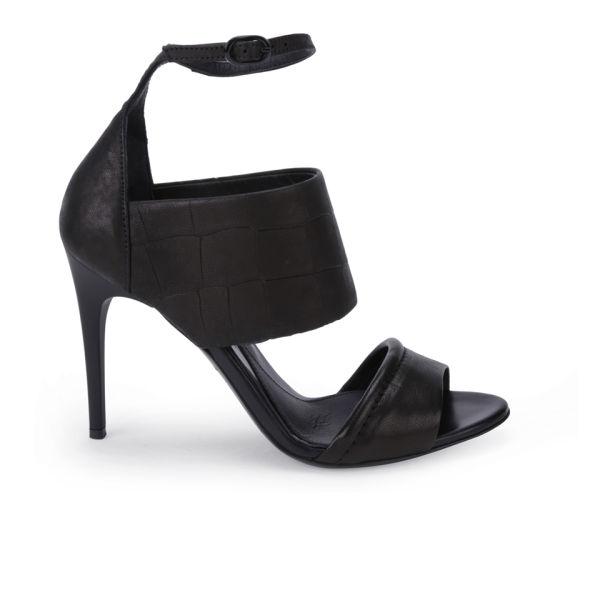 McQ Alexander McQueen Women's Croc Leather Heeled Sandals - Black