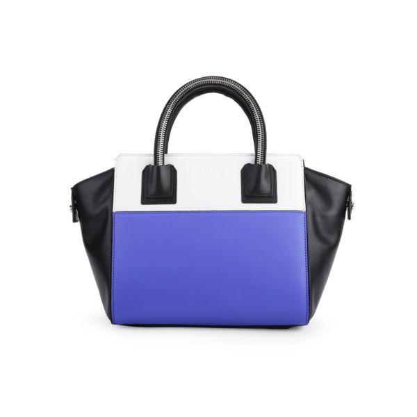 MILLY Logan Collection Small Leather Tote Bag - Blue