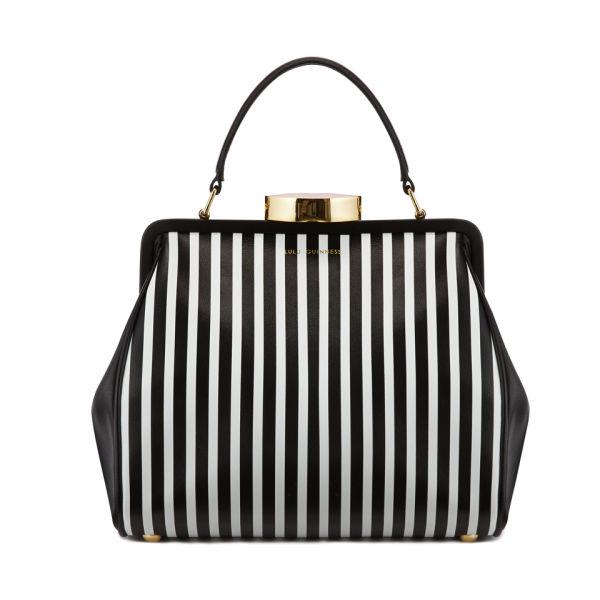 Lulu Guinness Eva Small Leather Striped Tote Bag - Black/White