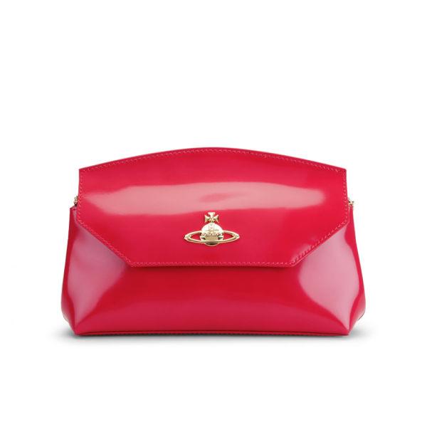 Vivienne Westwood Women's Monaco Shine Curve Top Leather Cross Body Bag - Coral