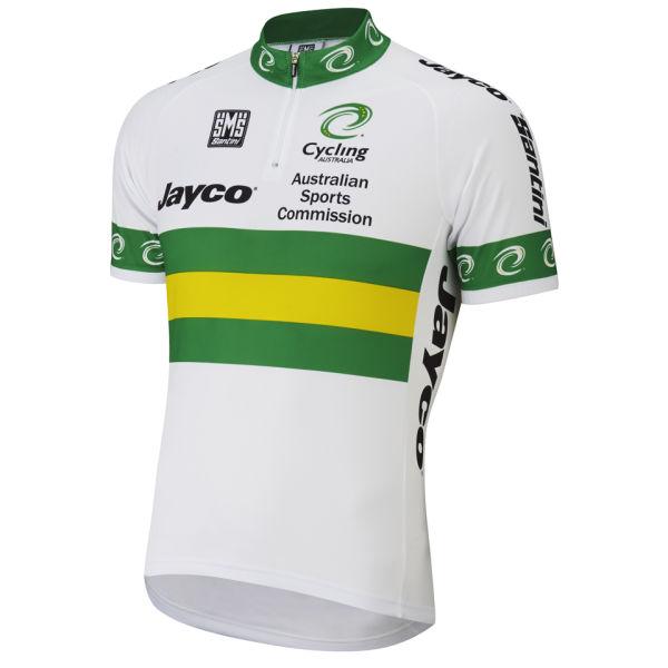 Australian National Team Short Sleeve Jersey 14cm Zip - White/Green 2014