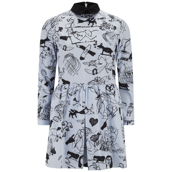 Carven Women's Tattoo Printed Pinstripe Pleat Shirt Dress -  White/Blue