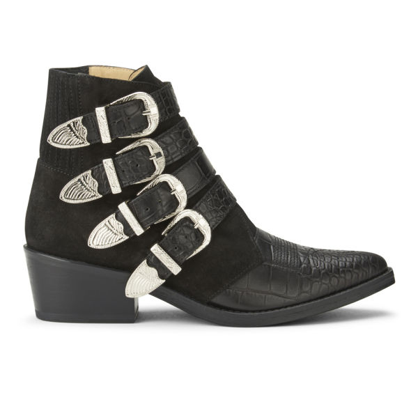 Toga Pulla Women's Embossed Leather/Suede Buckle Ankle Boots - Black
