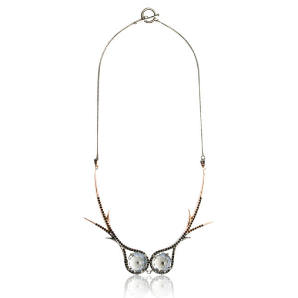Katie Rowland Dark Forest Dip Dye 18 CT Statement Necklace - Rose Gold/black