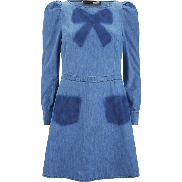 Love Moschino Women's Bow Denim Dress - Blue