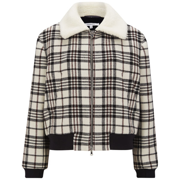 Carven Women's Tartan Wool Jacket -  Cream