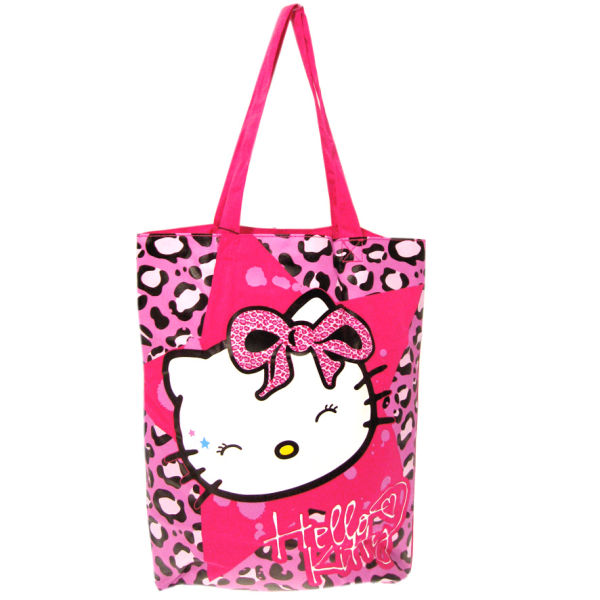 Cool Hello Kitty Bag PU Leather Women Handbag Black White Patchwork Top
