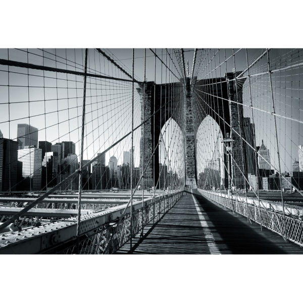 New yorks brooklyn bridge wall mural iwoot for Brooklyn bridge black and white wall mural