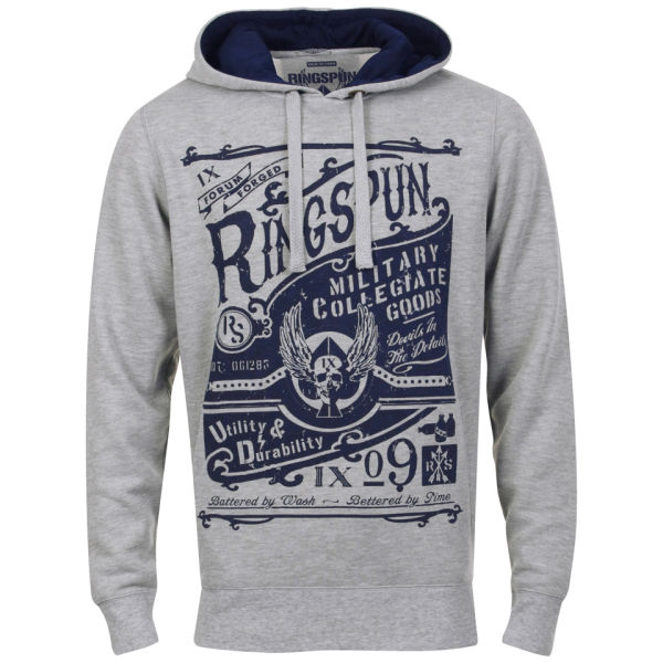Ringspun Men's Tipsy Printed Graphic Hoody - Grey Marl/Navy