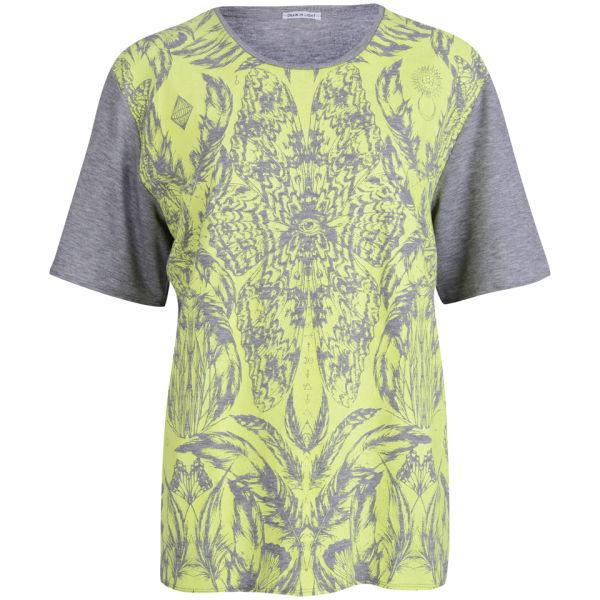 Draw In Light Women's Butterfly Unisex T-Shirt - Neon On Grey