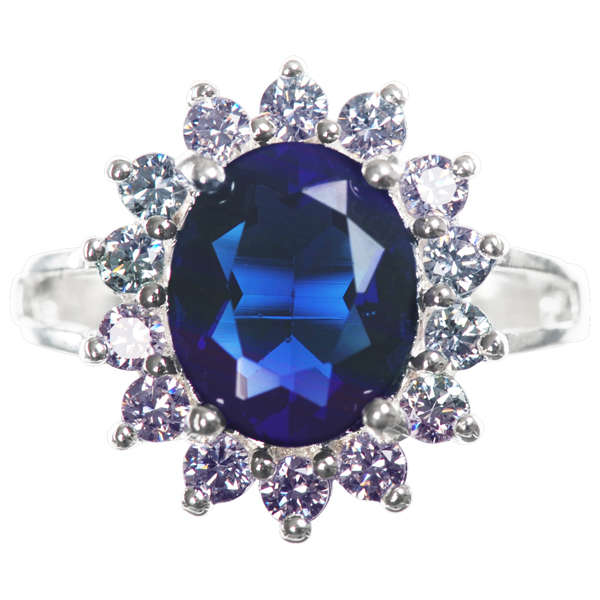 silver plated ring with blue sapphire effect centre