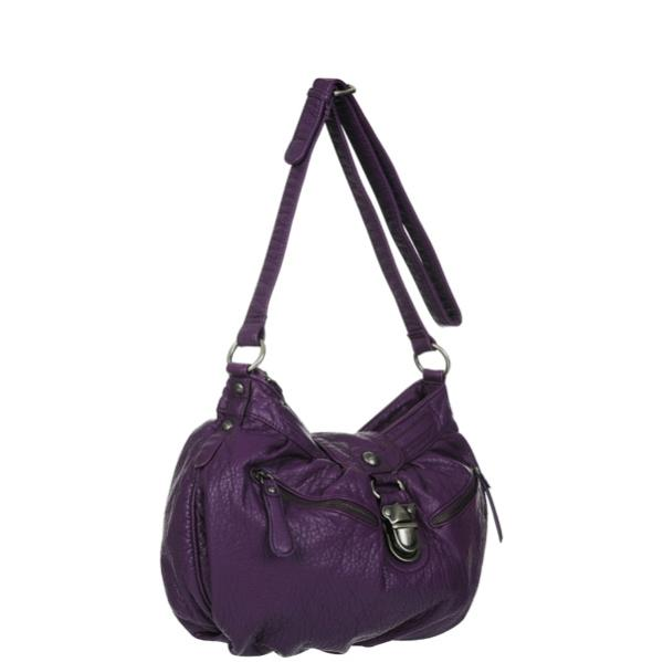 Nica Rosie Pushlock Front Large Cross Body Bag - Purple