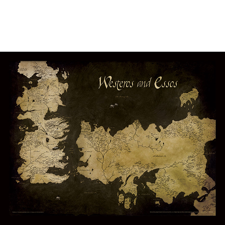 Game Of Thrones Westeros And Essos Antique Map Framed 30x40cm
