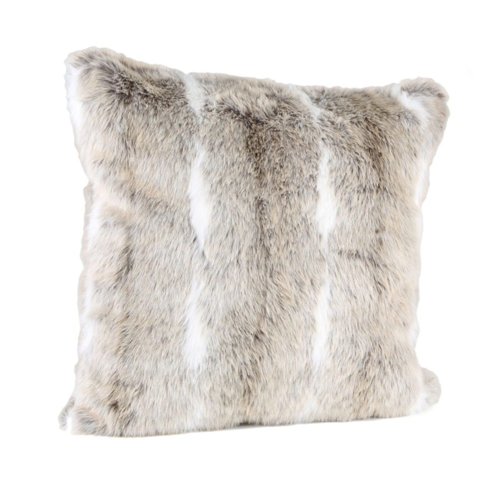malini natural faux fur with white stripe cushion iwoot. Black Bedroom Furniture Sets. Home Design Ideas