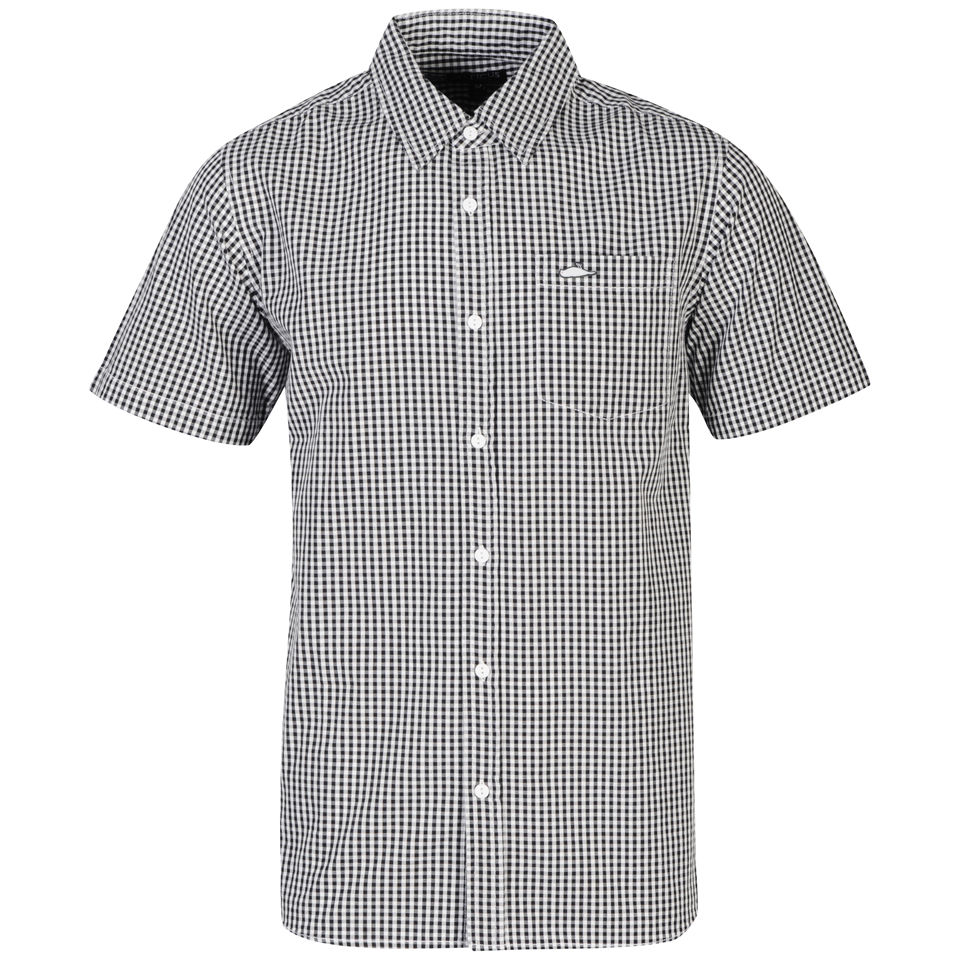 Atticus-Men-039-s-Equal-Ginham-Short-Sleeve-Shirt-Black-Light-Grey