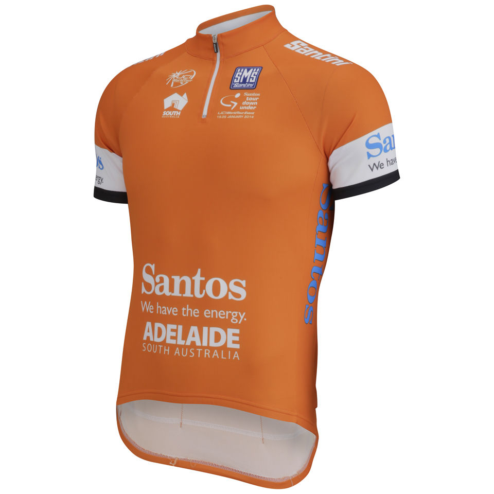 Santini-Mens-Tour-Down-Under-Leader-2014-Short-Sleeve-Jersey-Orange-Cycling