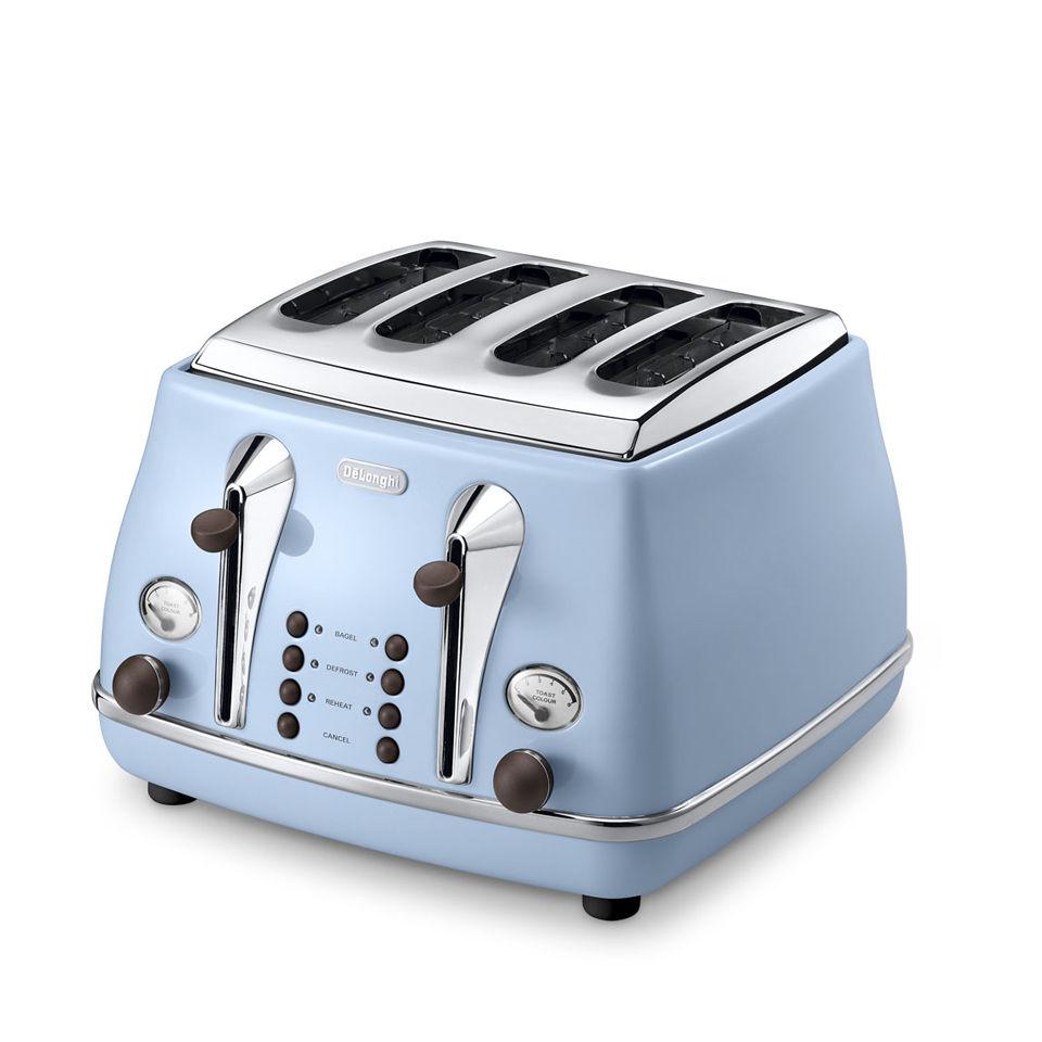 De'Longhi Icona Vintage 4 Scheiben Toaster - Blau Glänzend | SOWIA