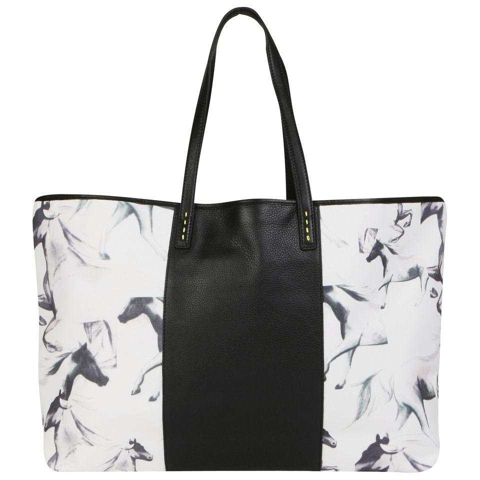 french connection printed horses canvas shoulder bag. Black Bedroom Furniture Sets. Home Design Ideas