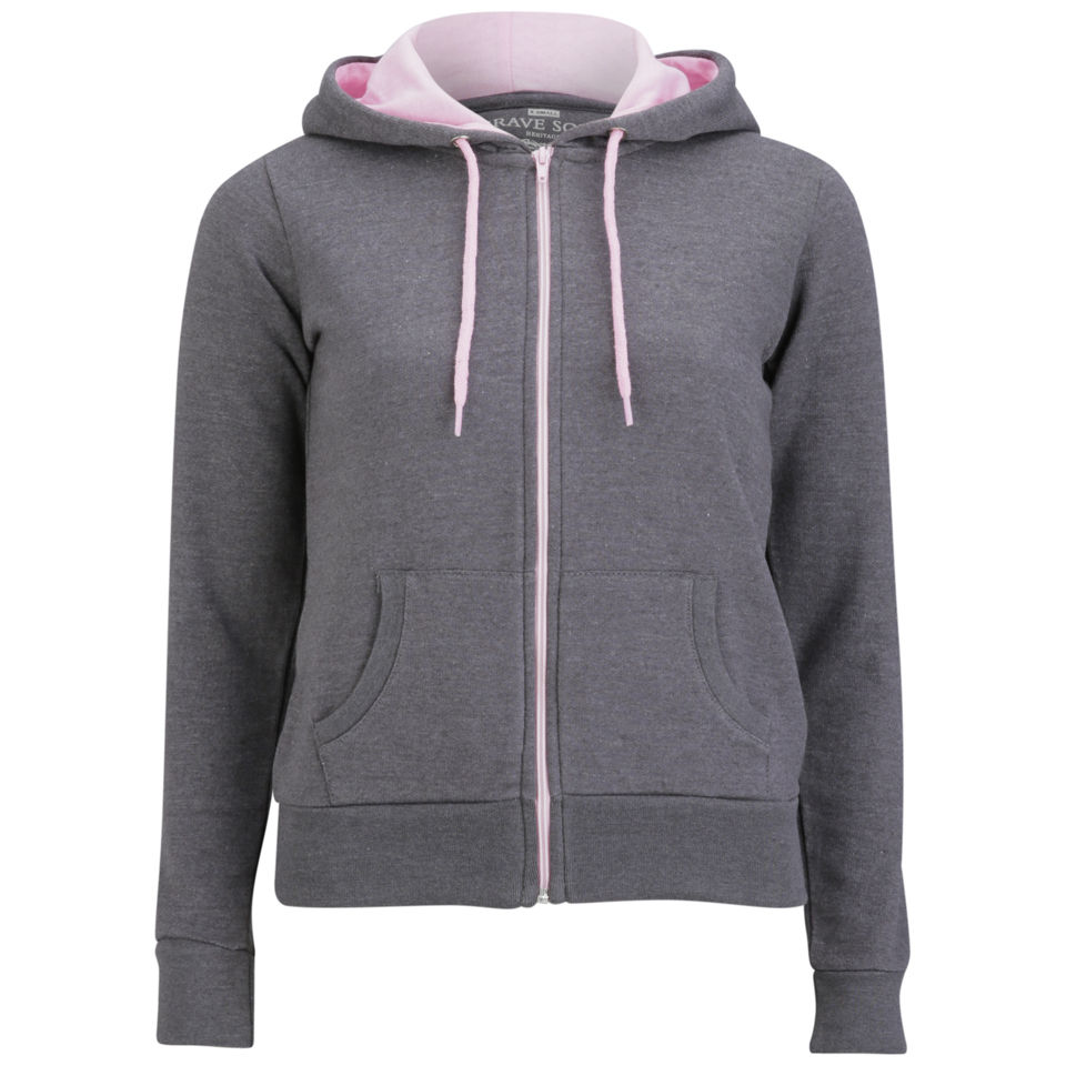 Brave-Soul-Womens-Full-Zip-Hoody-Charcoal-Pastel-Pink-TP1-Size-S-M-L-XL