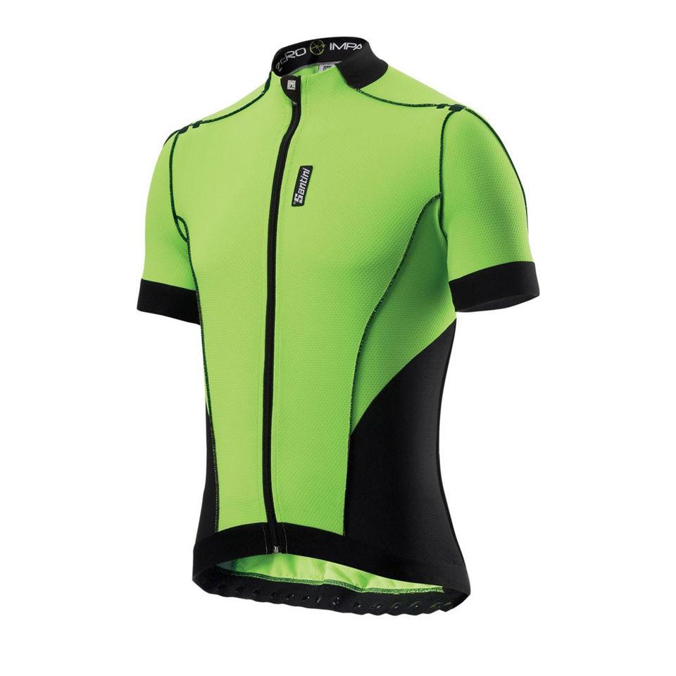 Santini-ZERO-IMPACT-MAGLIA-MANICA-CORTA-Calce-Verde-Nuovo-Ciclismo