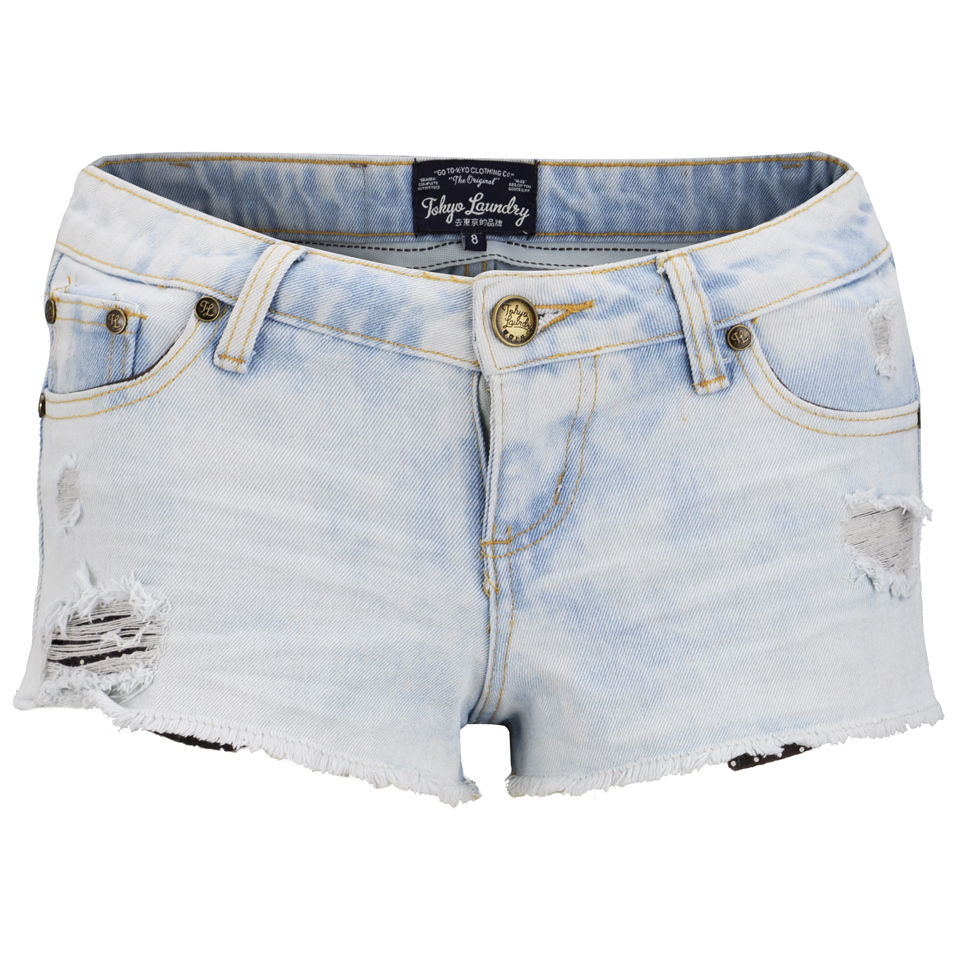 Tokyo-Laundry-Womens-Cara-Denim-Shorts-Light-Vintage-SS14-Size-8-16